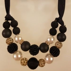 Pearlized Ribbon Beaded Statement Necklace